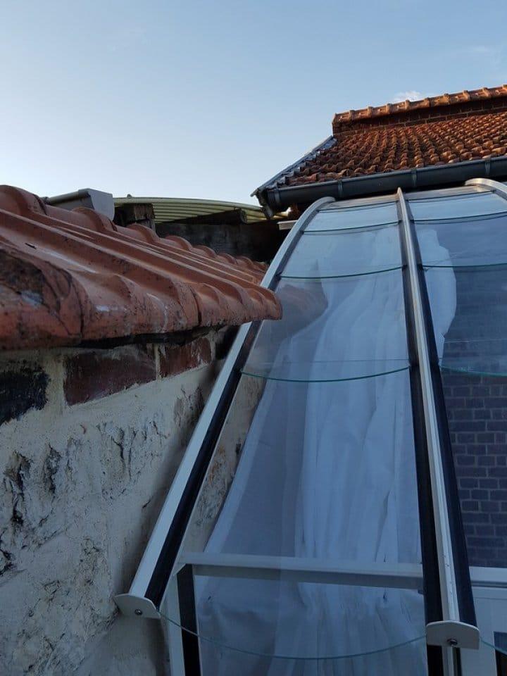 Pose d'une serre adossée/monopente à Sotteville Les Rouen (76) vue 4
