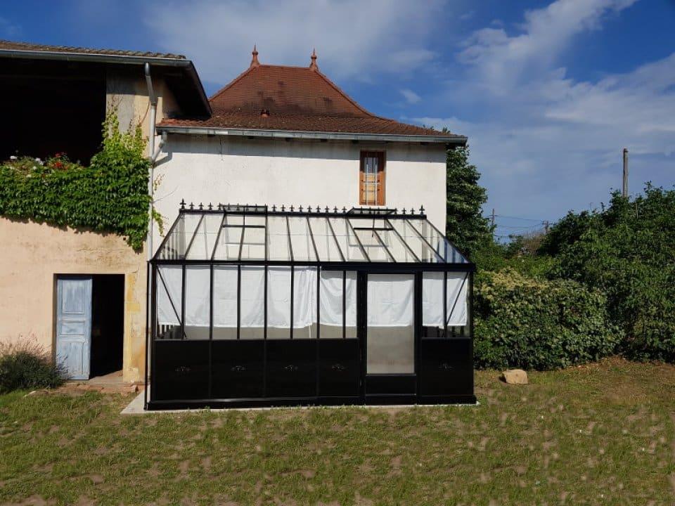 Installation d'une serre monopente avec soubassement - Pouilly sous Charlieu (42 - Loire) vue 1