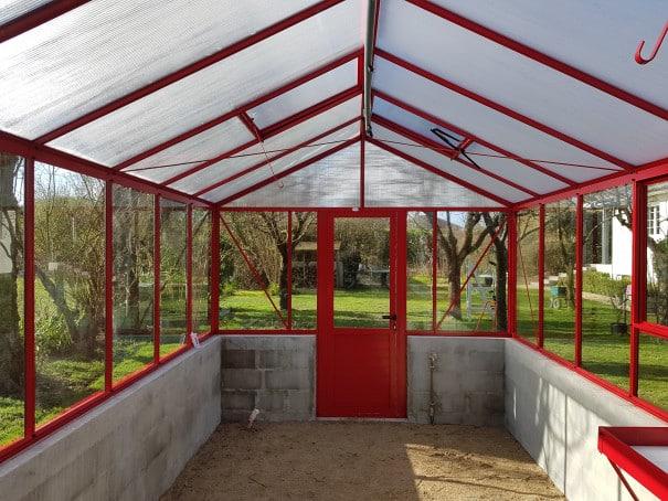 Serre de culture laquée avec imposte sur muret - Structure Aluminium - Mirabelle Mur Victorian (Vue 3)