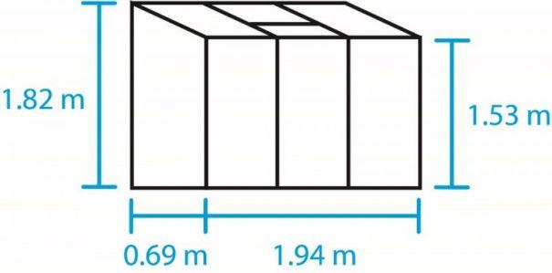 Petite serre de jardin adossée - 0.69x1.94m - Altan 3 - Halls - 1.3m² (Vue 5)