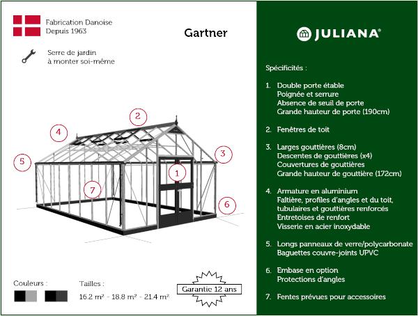 Serre de culture grande surface - 3.68x5.83m - Gartner - Juliana - 21.4m² (Vue 11)