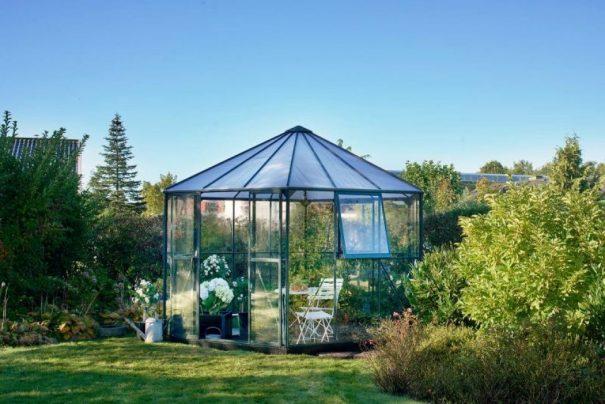 Pavillon de jardin hexagonal - Structure aluminium - Atrium - Halls - 9m² (Vue 1)
