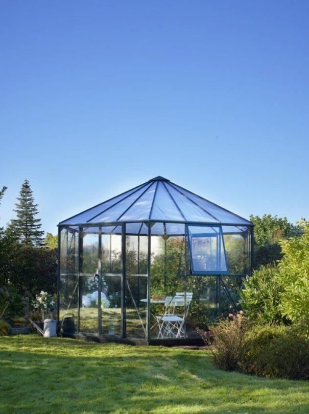 Pavillon de jardin hexagonal - Structure aluminium - Atrium - Halls - 9m² (Vue 0)