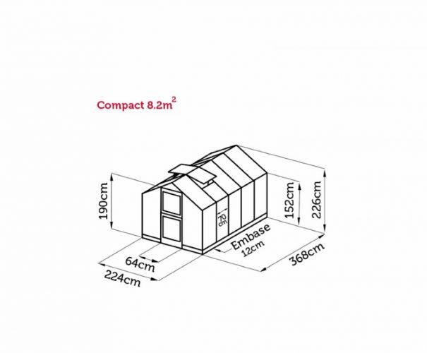 Petite serre de jardin - Structure aluminium - Compact - Juliana - 8.2m² (Vue 12)