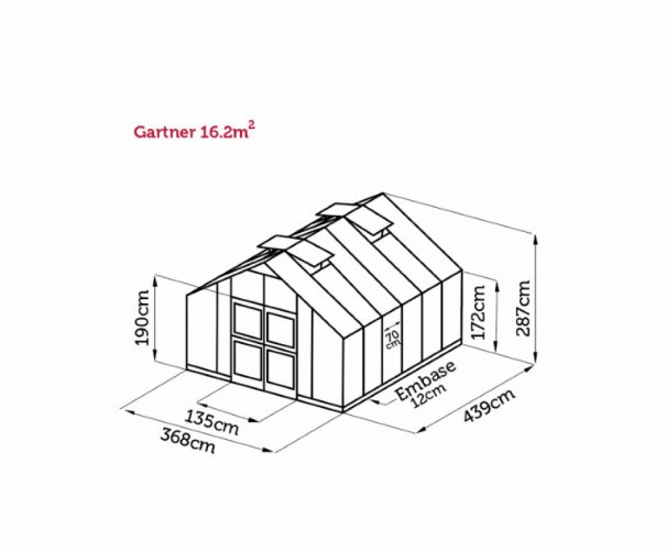 Serre de culture haute - Structure aluminium - Gartner - Juliana - 16.2m² (Vue 9)