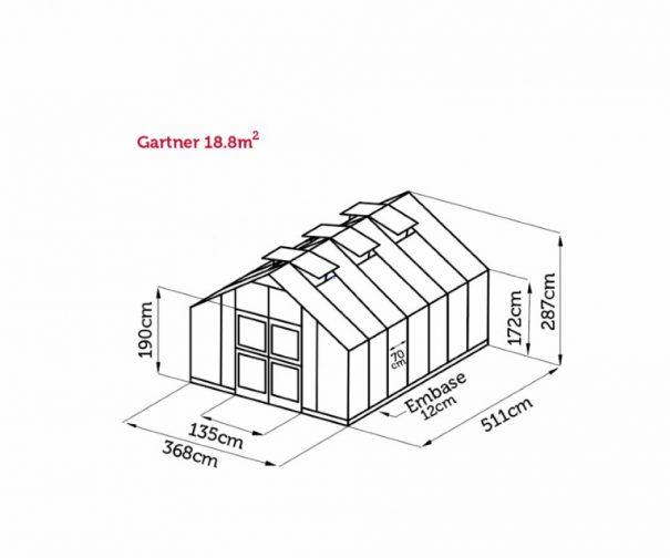 Serre de culture grande surface - 3.68x5.11m - Gartner - Juliana - 18.8m² (Vue 9)