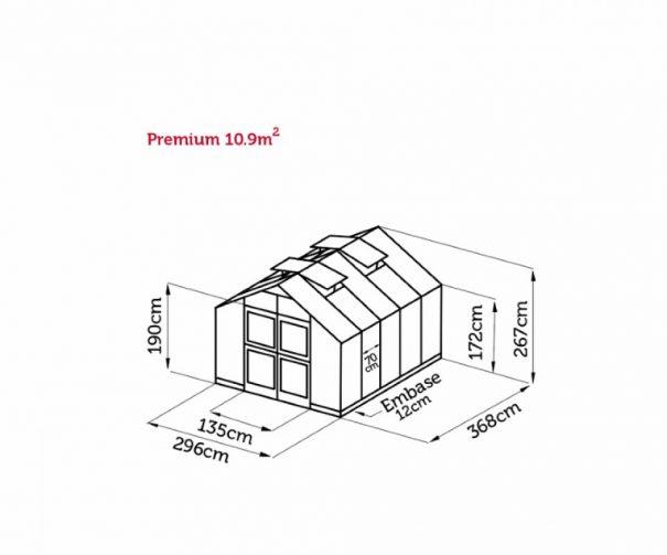 Serre de jardin grande surface - 2.96x3.68m - Premium - Juliana - 10.9m² (Vue 7)