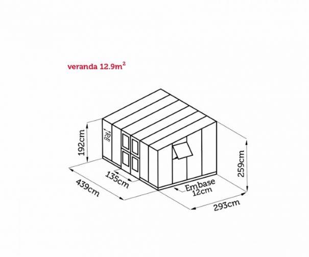 Serre de jardin monopente grande surface - 2.93x4.39m - Veranda - Juliana - 12.9m² (Vue 8)