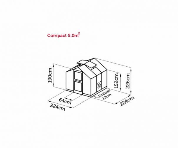 Petite serre de jardin - 2.24x2.24m - Compact - Juliana - 5.0m² (Vue 13)