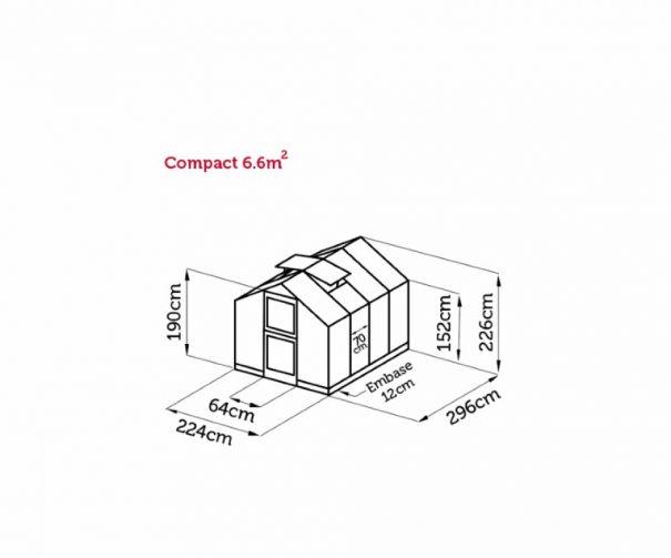 Petite serre de culture - Structure aluminium - Compact - Juliana - 6.6m² (Vue 11)