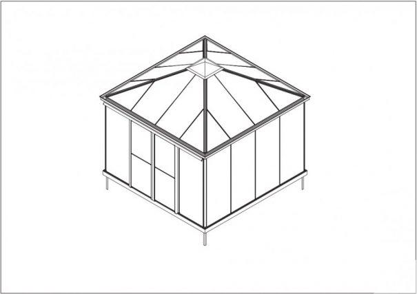 Serre quatre pentes style Victorien - Structure aluminium - Euro Pyra Victorian (Vue 6)