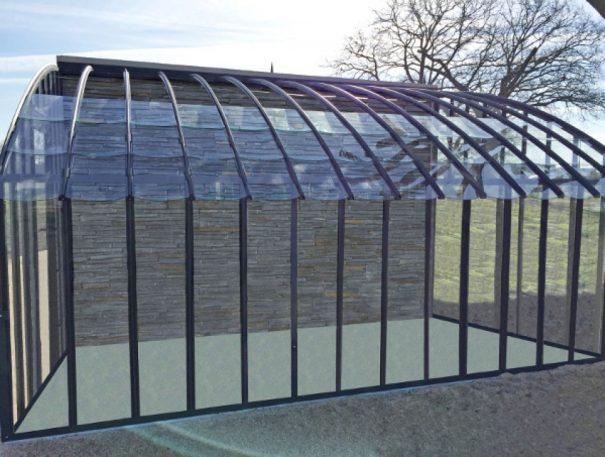 Serre à l'ancienne monopente - Structure aluminium - Éléonore Classique (Vue 3)