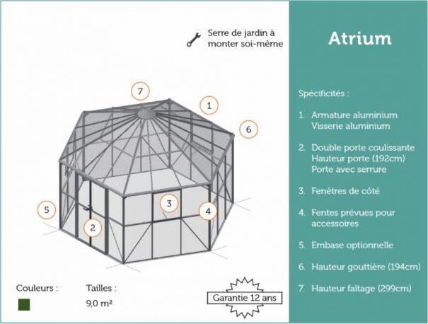 Pavillon de jardin hexagonal - Structure aluminium - Atrium - Halls - 9m² (Vue 8)