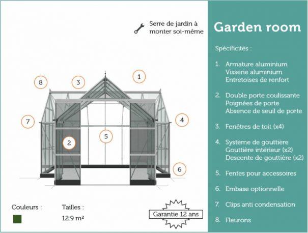 Serre de culture grande surface en forme de T - 3.89x2.62x2.62x1.29m - Garden Room - Halls - 12.9m² (Vue 12)