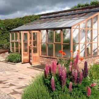 Serre de jardin adossée - Structure bois - RHS bois adossée sur muret (Vue 1)