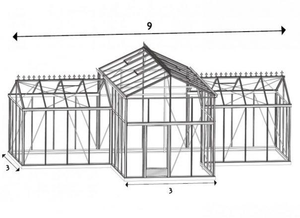 Serre d'ornement Orangerie Professionnelle - Structure aluminium - Euro Spark (Vue 1)