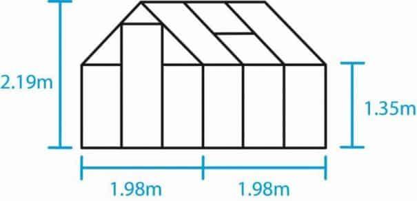 Serre de jardin double pente - 1.98x1.98m - Qube 66 - Halls - 3.9m² (Vue 3)
