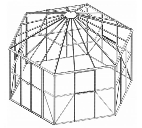 Pavillon de jardin hexagonal - Structure aluminium - Atrium - Halls - 9m² (Vue 3)