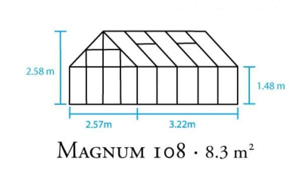 Serre de culture classique - 2.57x3.22m - Magnum 108 - Halls - 8.3m² (Vue 3)