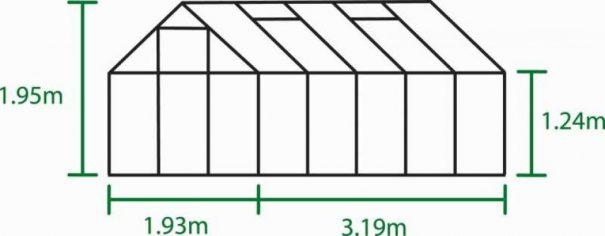 Serre de jardin petite surface - 1.93x3.19m - Popular 106 - Halls - 6.3m² (Vue 5)