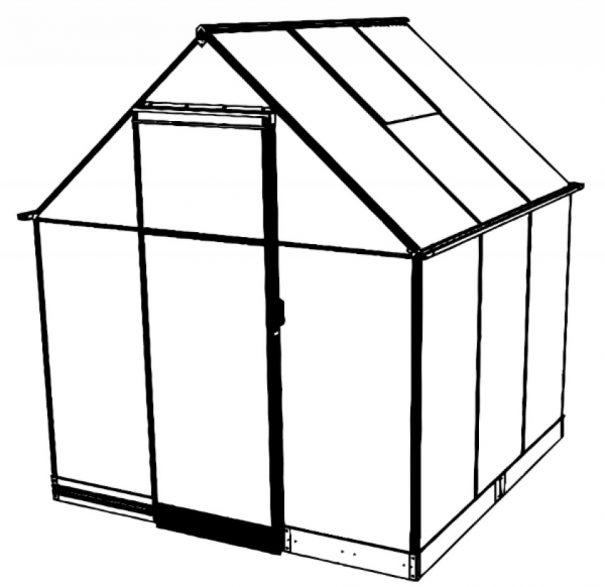 Serre de jardin double pente - 1.98x1.98m - Qube 66 - Halls - 3.9m² (Vue 4)