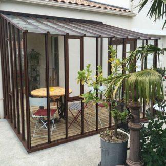 Serre de jardin à l'ancienne adossée - Structure aluminium - Hortense Classique (Vue 0)