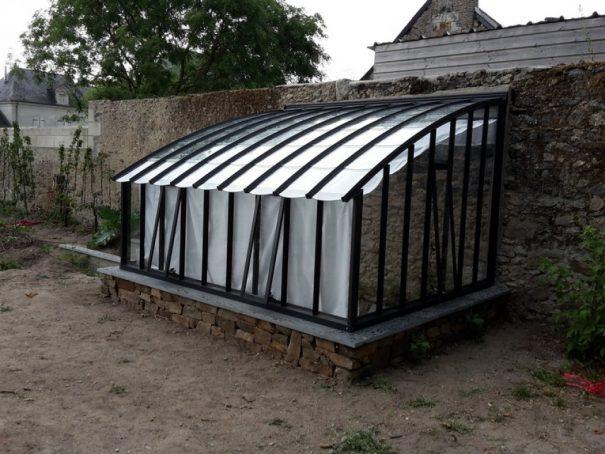 Serre à l'ancienne monopente sur muret - Structure aluminium - Éléonore sur Muret (Vue 1)