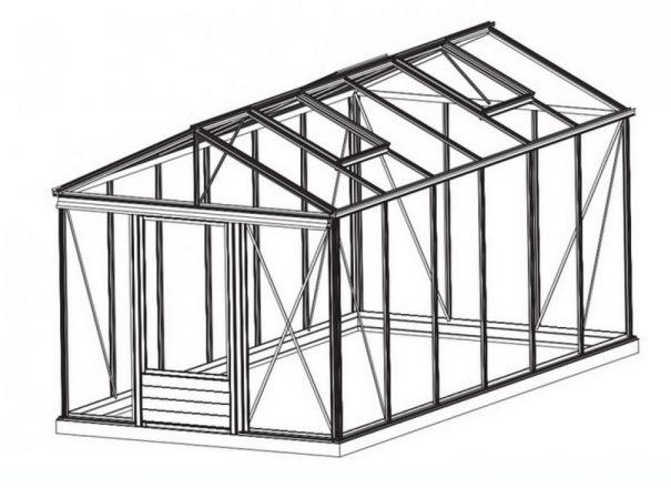 Serre de jardin classique autonome soubassement - Structure aluminium - Euro Maxi Retro Alu (Vue 1)