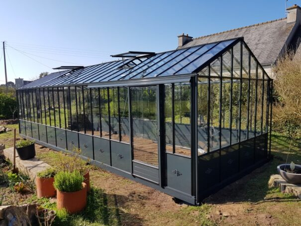Serre de jardin victorienne autonome soubassement - Structure aluminium - Euro Maxi Retro Victorian (Vue 2)