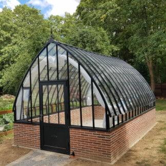 Serre de jardin à l'ancienne style fer forgé sur muret - Structure aluminium - Eugénie sur Muret (Vue 0)
