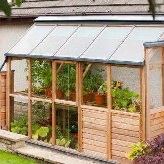 Petite serre en bois moderne avec soubassement - Structure bois - Classic bois 4 design soubassement (Vue 0)
