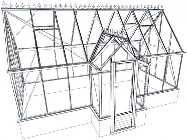 Pavillon de culture au style victorien sur muret - Structure aluminium - Victorian Mur Victorian (Vue 4)
