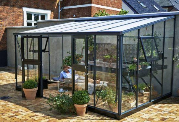 Serre de jardin monopente grande surface - 2.93x4.39m - Veranda - Juliana - 12.9m² (Vue 1)