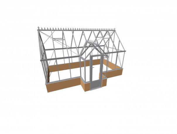 Serre victorian en T avec muret - Structure aluminium - Victorian Mur Alu (Vue 1)