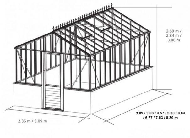 Verrière anglaise double pente sur muret - Structure aluminium - Euro Gothic Victorian (Vue 12)