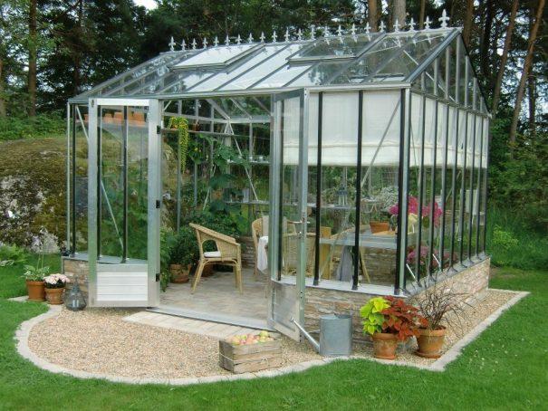 Serre de jardin classique autonome sur muret - Structure aluminium - Euro Gothic Alu (Vue 2)