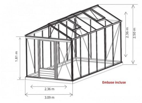 Serre gothique autonome - Structure aluminium - Euro Maxi Victorian (Vue 8)