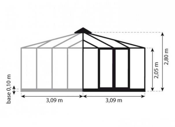 Serre quatre pentes style Victorien - Structure aluminium - Euro Pyra Victorian (Vue 7)