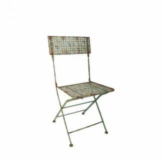 Chaise bistrot - Finition métal patiné (Vue 0)