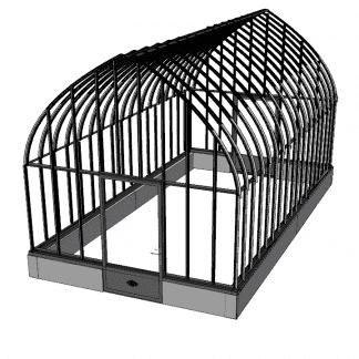 Grande serre à l'ancienne style fer forgé sur muret - Structure aluminium - Constance Sur Muret (Vue 0)
