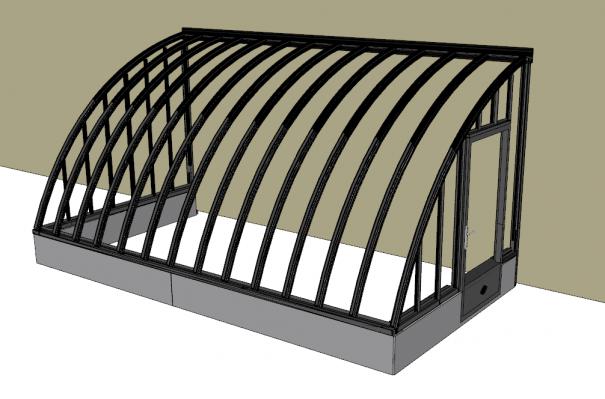 Serre à l'ancienne adossée sur muret - structure aluminium - Margot Sur Muret (Vue 0)