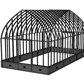 Grande serre de charme style fer forgé avec soubassement - Structure aluminium  - Constance Soubassement (Vue 0)