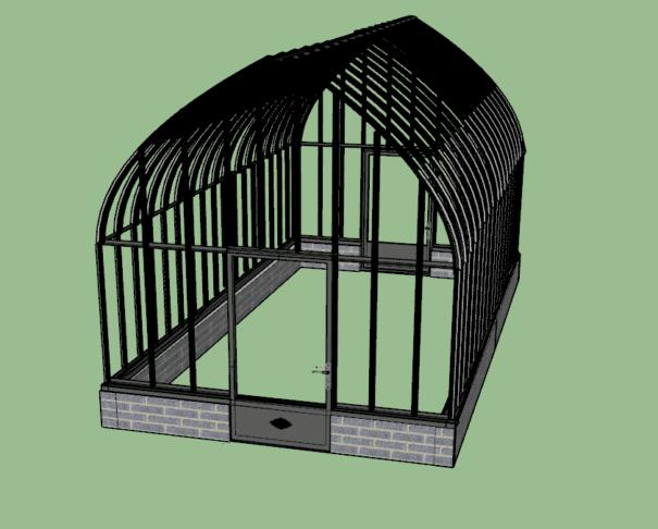 Grande serre à l'ancienne style fer forgé sur muret - Structure aluminium - Constance Sur Muret (Vue 2)