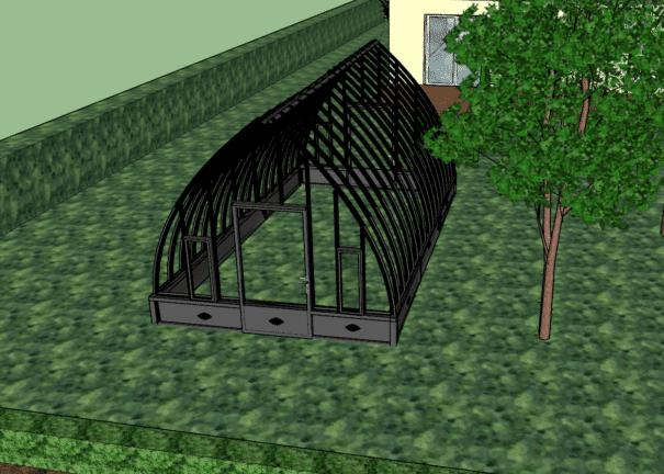 Serre de jardin à l'ancienne style fer forgé avec soubassement – Structure aluminium - Louise Soubassement (Vue 7)