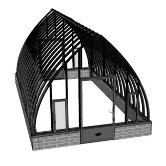Serre de jardin à l'ancienne style fer forgé sur muret – Structure aluminium - Louise sur Muret (Vue 0)