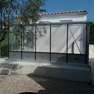 Serre de culture classique monopente soubassement - Structure aluminium - Euro Murale Retro Alu (Vue 0)
