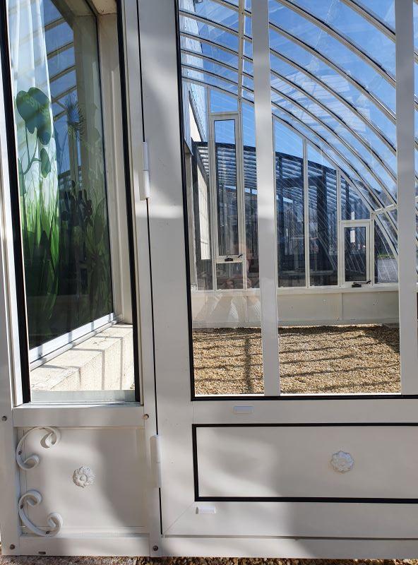 Serre à l'ancienne adossée avec soubassement - structure aluminium - Margot Soubassement (Vue 4)