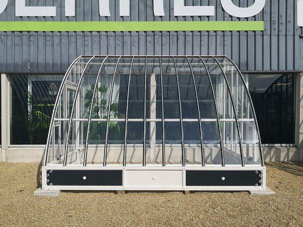 Serre à l'ancienne adossée avec soubassement - structure aluminium - Margot Soubassement (Vue 2)