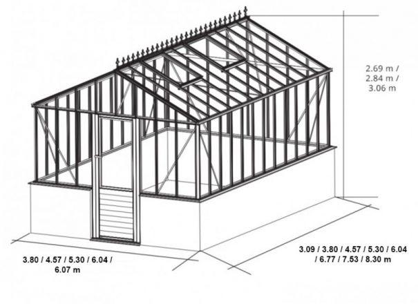 Serre à l'ancienne indépendante sur muret - structure aluminium - Euro Gothic Plus Mur Victorian (Vue 2)