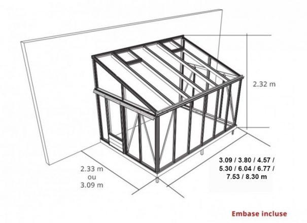 Serre de culture classique adossée - Structure aluminium - Euro Murale Alu (Vue 4)